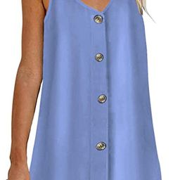 Feiersi Women Summer Spaghetti Strap Button Down V Neck Sleeveless Casual Mini Dress   Amazon (US)