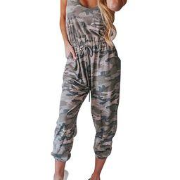Zdcdcd Women's Elastic Waist Camo Sleeveless Drawstring Jumpsuit | Walmart (US)