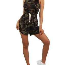 LAPA Women's Casual Sleeveless Drawstring Waist Camouflage Printed Jumpsuit | Walmart (US)