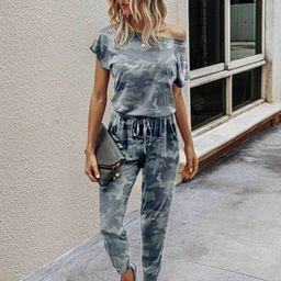 Camo Print Batwing Sleeve Jumpsuit | SHEIN