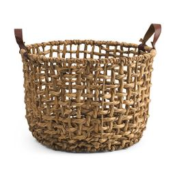 Large Round Open Twist Basket With Faux Leather Handles | TJ Maxx