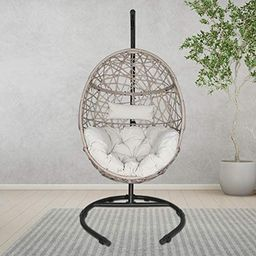Ulax Furniture Outdoor Patio Wicker Hanging Basket Swing Chair Tear Drop Egg Chair with Cushion a...   Amazon (US)