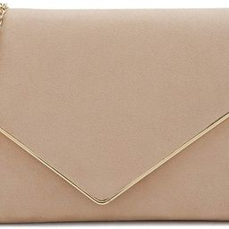 Charming Tailor Faux Suede Clutch Bag Elegant Metal Binding Evening Purse for Wedding/Prom/Black-... | Amazon (US)