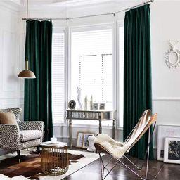 jinchan Velvet Curtain Green Living Room Rod Pocket Window Curtain Panel 95 inch Long Bedroom The... | Amazon (US)