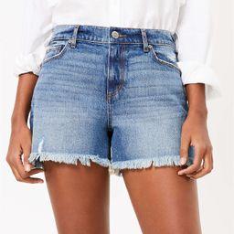 High Rise Cut Off Denim Shorts in Dark Indigo   LOFT   LOFT