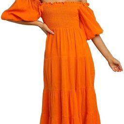 R.Vivimos Women's Summer Linen Lantern Sleeves Ruffled Off Shoulder A-Line Midi Dresses | Amazon (US)