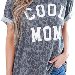 Blooming Jelly Women's Leopard Print Top Cool Mom Short Sleeve Casual Loose T Shirts | Amazon (US)