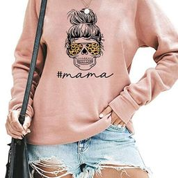 Mama Shirts Women Funny Mom Sweatshirt Leopard Skull Graphic Tee Casual Long Sleeve Pullover Tops | Amazon (US)