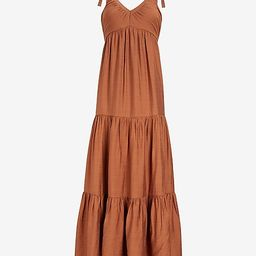 Ruched V-Neck Tiered Maxi Dress | Express