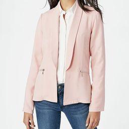 JustFab Women's Blazers BLUSH - Blush Zip-Pocket Blazer - Women   Zulily