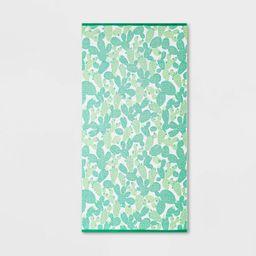 Cactus Print Sand Resistant Beach Towel Green/Orange - Sun Squad™ | Target