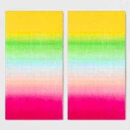 2pk Ombre Beach Towel Set Pink/Green - Sun Squad™ | Target