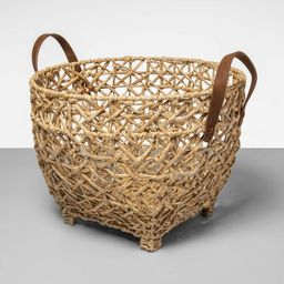 Open Weave Basket With Feet And Leather Handle - Opalhouse™ | Target
