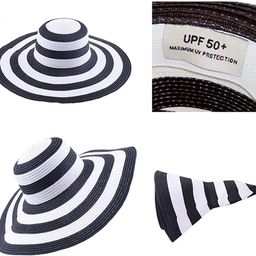 Itopfox Women's Beachwear Sun Hat Striped Straw Hat Floppy Big Brim Hat | Amazon (US)