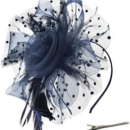 DRESHOW Fascinators Hat Flower Mesh Ribbons Feathers on a Headband and a Clip Tea Party Headwear ... | Amazon (US)