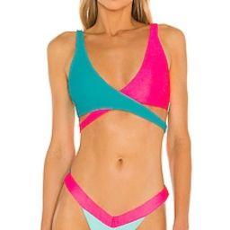 Beach Bunny Skylar Wrap Bikini Top in Maldives & Aqua from Revolve.com | Revolve Clothing (Global)