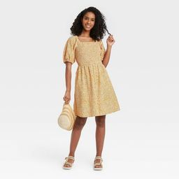 Women's Floral Print Puff Elbow Sleeve Smocked Dress - Universal Thread™ Yellow   Target