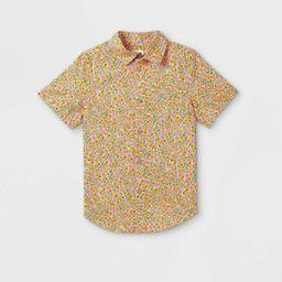 Boys' Button-Down Short Sleeve Shirt - Cat & Jack™ Yellow   Target