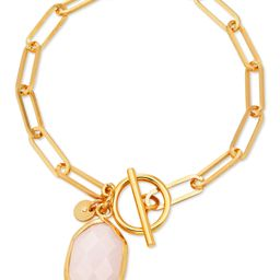 Scoop 14K Gold Flash-Plated Paper Link Chain Toggle Bracelet with Genuine Rose Quartz Stone Charm | Walmart (US)