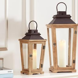 Home Decorators Collection Natural Wood Candle Hanging or Tabletop Lantern with Antiqued Bronze M... | The Home Depot