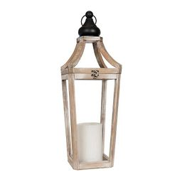 Natural Wooden Lantern with Metal Handle | Kirkland's Home