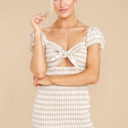 From The Hills Taupe Gingham Dress   Red Dress