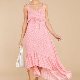 Burst Your Bubbly Flamingo Pink Print High-Low Dress | Red Dress
