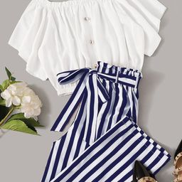 SHEIN Frilled Button Bardot Top & Striped Paperbag Waist Pants Set   SHEIN