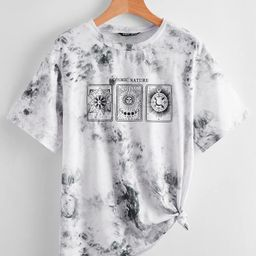 Tie Dye And Graphic Print Tee | SHEIN