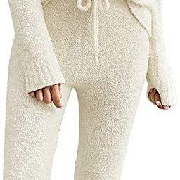 luvamia Women's Casual Pajama Set Fuzzy Fleece Knitted Long Sleeve Pj Loungewear | Amazon (US)