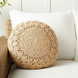Round Crochet Faux Natural Fiber Indoor/Outdoor Pillow   Pottery Barn (US)