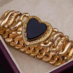 Sweetheart expansion bracelet Small wrist bracelet Antique gold stretch bracelet | Etsy (US)