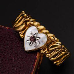Amethyst bracelet Gold sweetheart expansion bracelet Dark Academia | Etsy (US)