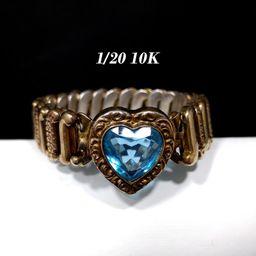 Blue Heart Expansion Bracelet, Sweetheart Bracelet, 10K Gold over Silver, 1940s Vintage Jewelry | Etsy (US)