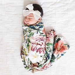Little Moonpie Newborn Receiving Blanket Swaddle Blanket Baby Snug Wrap -Botanical Garden Floral ... | Amazon (US)