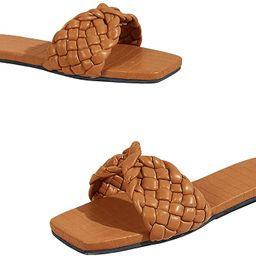 LAICIGO Women's Square Open Toe Flat Sandals Slide Crisscross Braided Strap Low Heel Mule Slipp...   Amazon (US)