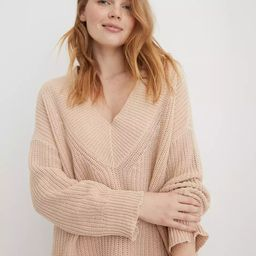 Aerie Wide V Neck Oversized Pullover Sweater   American Eagle Outfitters (US & CA)