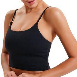 Women Yoga Tank Tops Padded Sports Bra Workout Fitness Running Crop Top | Amazon (US)