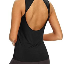 Mippo Workout Tops for Women Yoga Shirts Open Back Tank Tops Athletic Tops Gym Workout Clothes | Amazon (US)