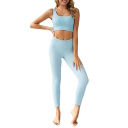 Hotexy Women's Workout Outfit 2 Pieces Seamless Yoga Leggings with Sports Bra Gym Clothes Set | Amazon (US)
