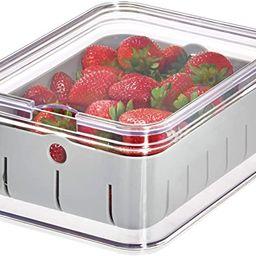 "iDesign Crisp BPA-Free Plastic Produce Storage Bin - 8.32"" x 6.32"" x 3.76"", Clear/Gray   Amazon (US)"