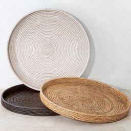 Tava Handwoven Rattan Round Serving Tray   Pottery Barn (US)