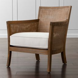 Blake Grey Wash Rattan Chair with Fabric Cushion | Crate and Barrel | Crate & Barrel
