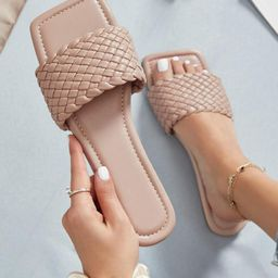 Braided Vamp Square Toe Faux Leather Sandals | SHEIN