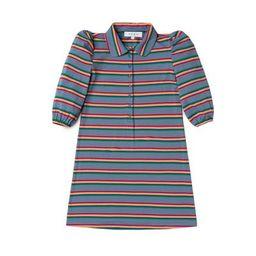 Puff Sleeve T-Shirt Dress - Rainbow Stripe | Shop BURU