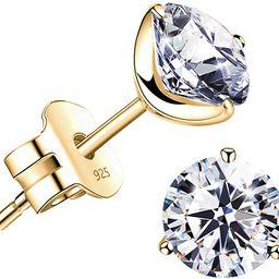 """STUNNING FLAME"" 18K Gold Plated Silver Brilliant Cut Simulated Diamond Cubic Zirconia Stud Earri... | Amazon (US)"