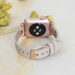 Slim Apple Watch Band for 38mm 40mm 42mm 44mm, Slim Leather Apple Watch for Women, iWatch Band, G...   Etsy (US)