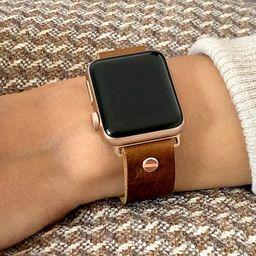 Rose Gold & Brown Leather Apple Watch Band 38mm 40mm 42mm 44mm iWatch Bracelet Adjustable Grain L...   Etsy (US)