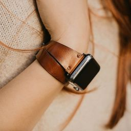 Brown Burnished Leather Apple Watch Band 38mm 40mm 42mm 44mm, Slim Double Wrap iWatch Strap Genui...   Etsy (US)