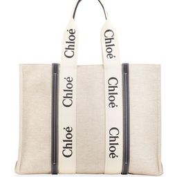 Chloe Woody Large Logo Canvas Shopper Tote Bag | Neiman Marcus